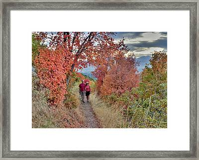 Couple On Trail Among Fall Foliage Framed Print by Howie Garber