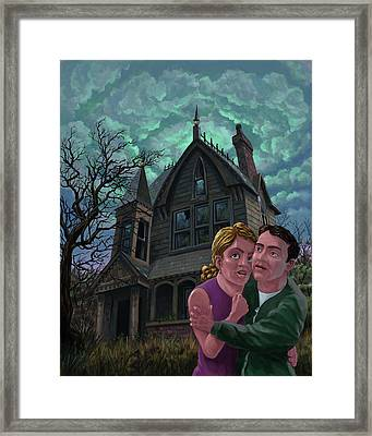 Couple Outside Haunted House Framed Print