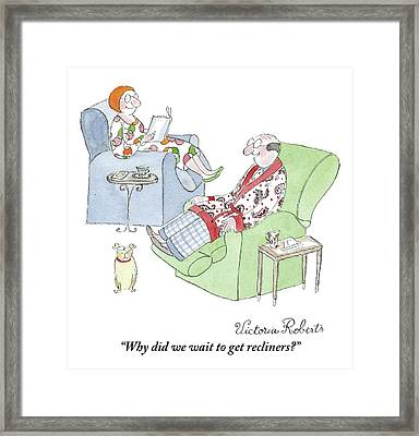 Couple Reading In Living Room Framed Print