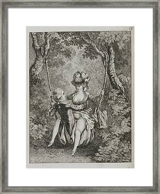 Couple Swinging On A Swing Framed Print by British Library