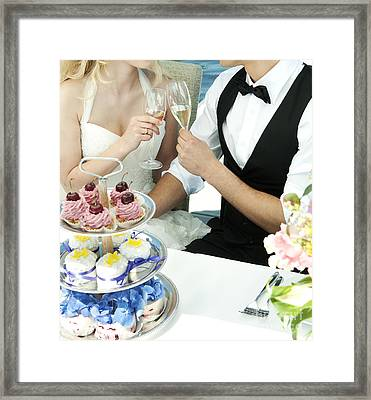 Couple Toasting At Wedding Framed Print by Jacek Malipan