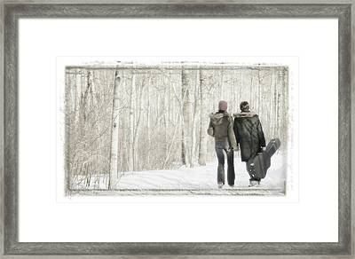 Couple Walk With Guitar Framed Print