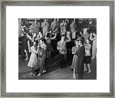 Couples Dancing To A Band Framed Print