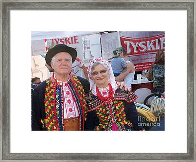 Couples In Polish National Costumes Framed Print by Lingfai Leung