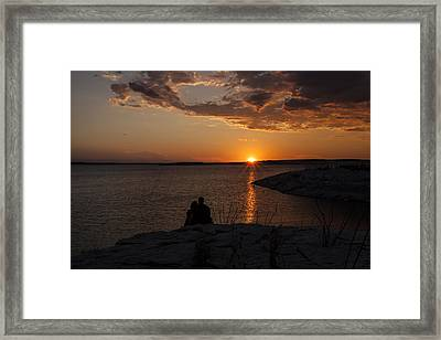 Couple's Sunset In The Desert Framed Print