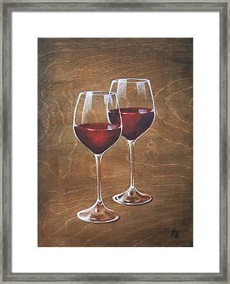 Couples Wine Framed Print by Aubrey Verzyden