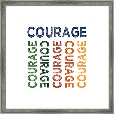 Courage Cute Colorful Framed Print by Flo Karp