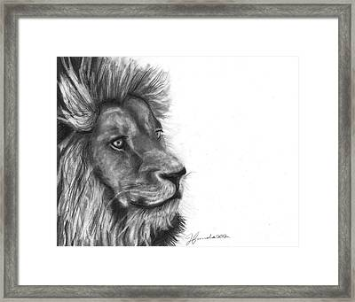 Framed Print featuring the drawing Courage Of A Lion by J Ferwerda