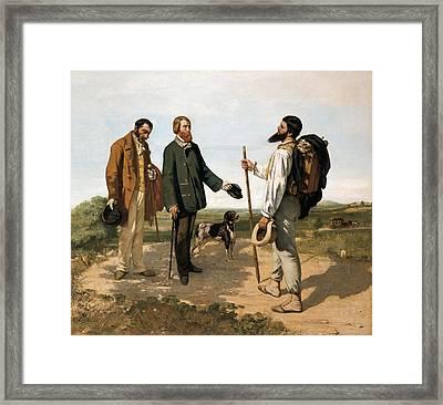 Courbetgustave 1819-1877. The Meetingor Framed Print by Everett