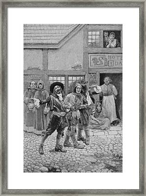 Coureurs De Bois, Engraved By G.e. Johnson, Illustration From Canadian Voyageurs On The Saguenay Framed Print by Howard Pyle
