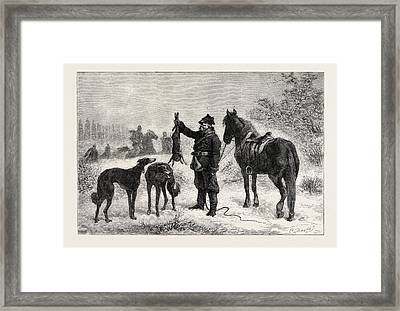 Coursing In Poland Caught At Last, From A Painting Framed Print by Polish School