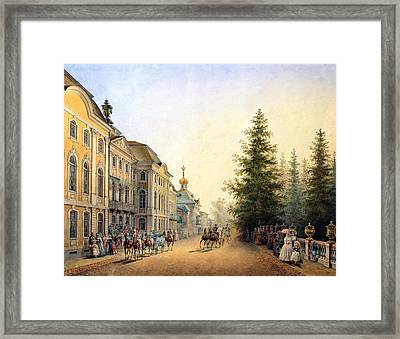 Court Departure At The Main Entrance Of The Great Palace Framed Print by Vasili Semenovich Sadovnikov