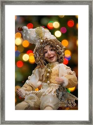 Court Jester With Christmas Lights Framed Print by Amy Cicconi