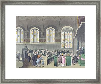 Court Of Chancery, Lincolns Inn Hall, Engraved By Constantine Stadler Fl.1780-1812, 1808 Coloured Framed Print by T. Rowlandson