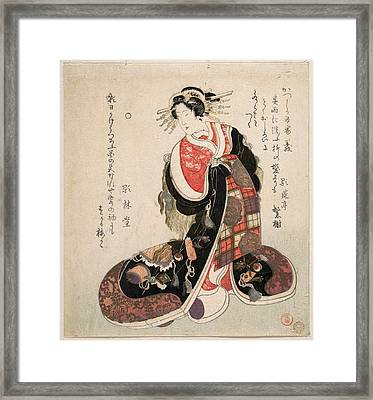 Courtesan Dressed In An Elaborate Gown Embroidered With Emblems Of Good Luck Framed Print
