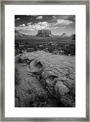 Courthouse Butte In Sedona Bw Framed Print