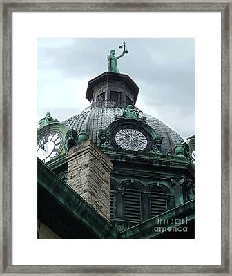 Courthouse Dome In Binghamton Ny Framed Print by Sally Simon