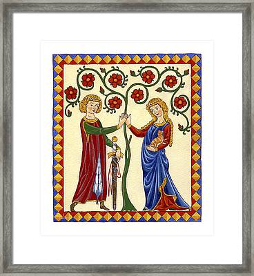 Courtly Love With Cat Framed Print
