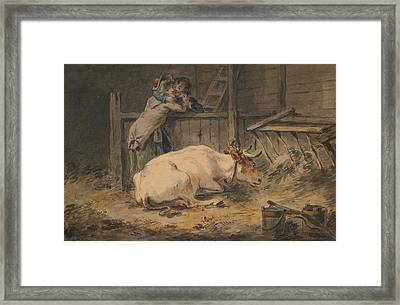 Courtship In A Cowshed Framed Print by Julius Caesar Ibbetson
