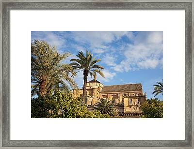 Courtyard Garden And Mezquita Cathedral Of Cordoba Framed Print by Artur Bogacki