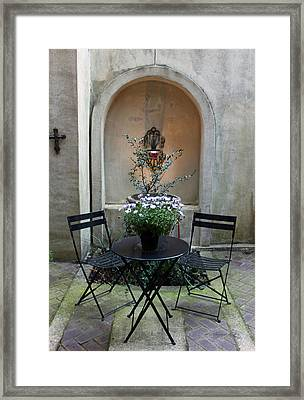 Courtyard Haven Framed Print