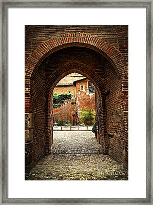 Courtyard Of Cathedral Of Ste-cecile In Albi France Framed Print