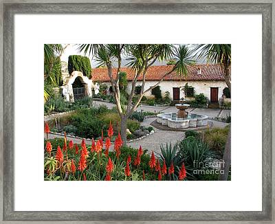 Courtyard Of The Carmel Mission Framed Print