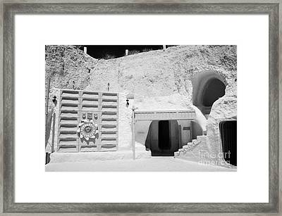 courtyard of the Sidi Driss Hotel underground at Matmata Tunisia scene of Star Wars films with film props Framed Print