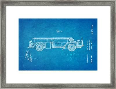 Couse Fire Truck Patent Art 1947 Blueprint Framed Print