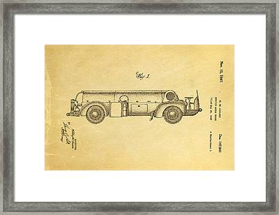 Couse Fire Truck Patent Art 1947 Framed Print by Ian Monk