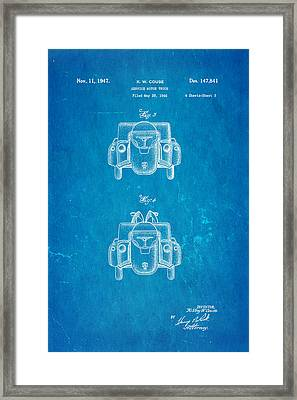 Couse Fire Truck Patent Art 3 1947 Blueprint Framed Print by Ian Monk