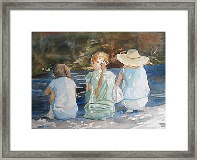 Cousins At The Brook Framed Print by Jenny Armitage