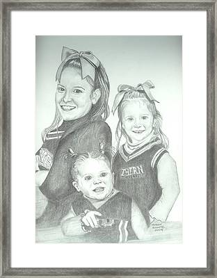 Framed Print featuring the drawing Cousins by Sharon Schultz