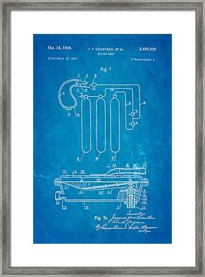Cousteau Diving Unit Patent Art 1949 Blueprint Framed Print