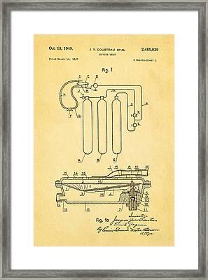 Cousteau Diving Unit Patent Art 1949 Framed Print