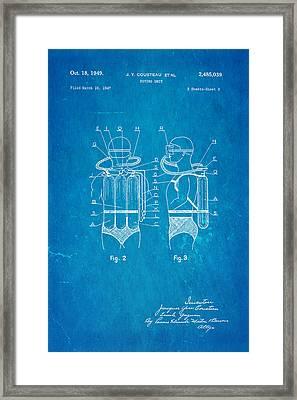 Cousteau Diving Unit Patent Art 2 1949 Blueprint Framed Print