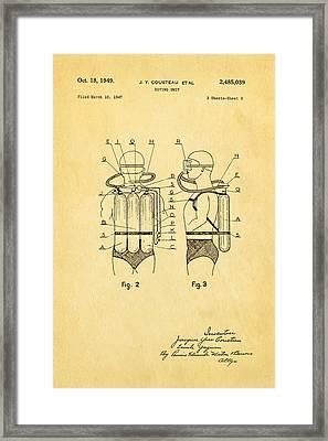 Cousteau Diving Unit Patent Art  2 1949 Framed Print