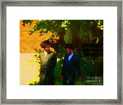 Covenant Conversation Two Men Of God Hasidic Community Montreal City Scene Rabbinical Art Carole Spa Framed Print by Carole Spandau