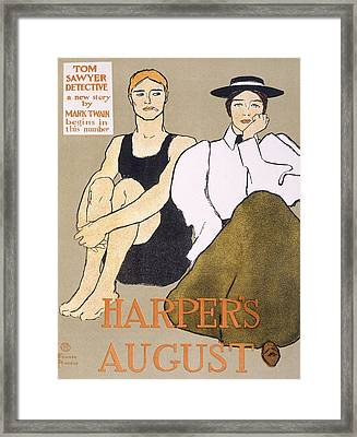 Cover Of Harpers Magazine, 1896 Framed Print by Edward Penfield