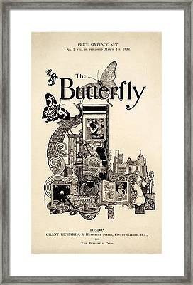 Cover Of The Butterfly Magazine Framed Print by English School