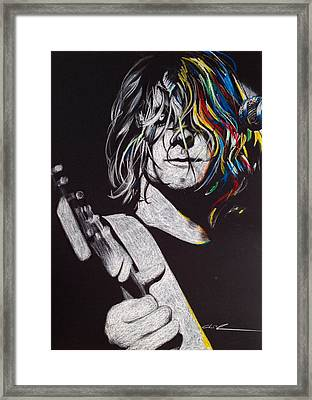 Kurt Cobain - ' Cover The Hair In Your Eyes ' Framed Print by Christian Chapman Art