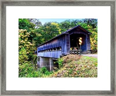 Covered Bridge 1 Framed Print by Gena Weiser