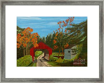 Covered Bridge Framed Print by Anthony Dunphy