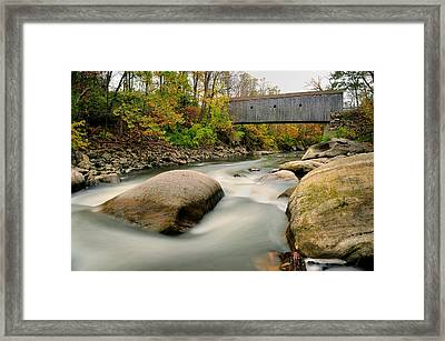 Covered Bridge At Bull Run - Kent Connecticut Framed Print by Thomas Schoeller