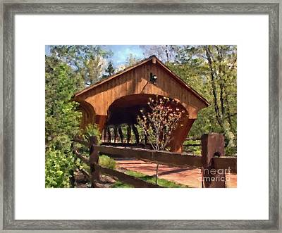 Covered Bridge At Olmsted Falls-spring Framed Print