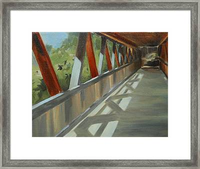 Covered Bridge At Roswell Mill Framed Print by Jean Scanlin Wright