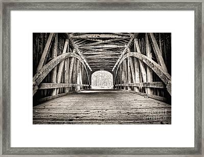 Covered Bridge B N W Framed Print