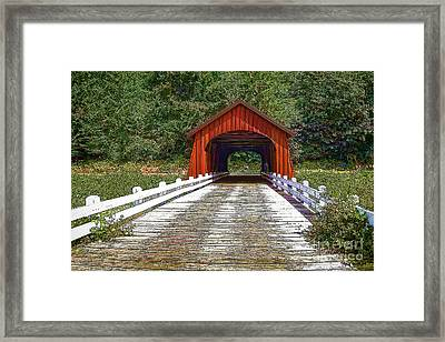 Covered Bridge-d Framed Print by Nancy Marie Ricketts