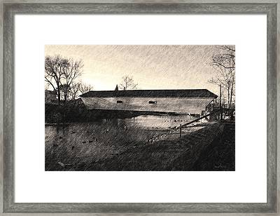 Framed Print featuring the photograph Covered Bridge Elizabethton Tennessee C. 1882 Sepia by Denise Beverly