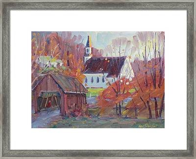Covered Bridge In Autumn Framed Print